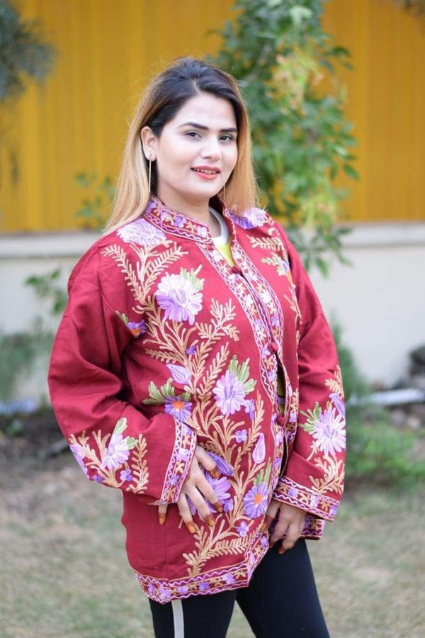 Maroon Colour Aari Work Embroidered Jacket With New Designer