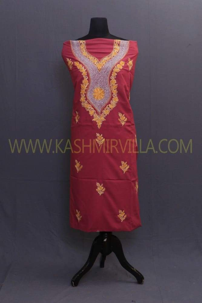 Maroon Colour Cotton Suit With Aari And The Touch Of Tilla