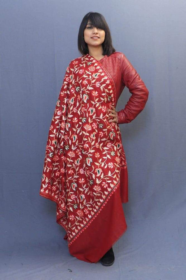 Maroon Colour Kashmiri Shawl With Aari Jaal Gives A Trendy