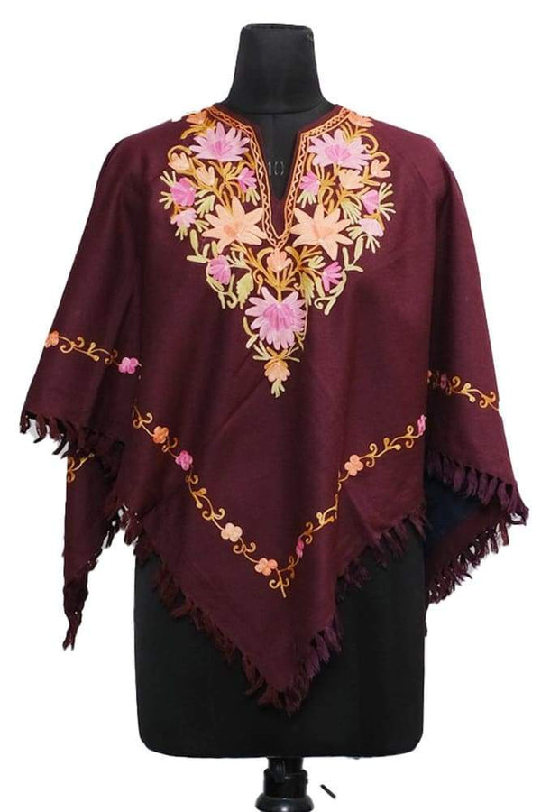 Maroon Colour Ponchu With Elegant Kashmiri Embroidery.