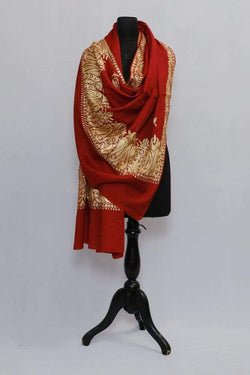 Maroon Colour Semi Pashmina Shawl Enriched With Ethnic Heavy