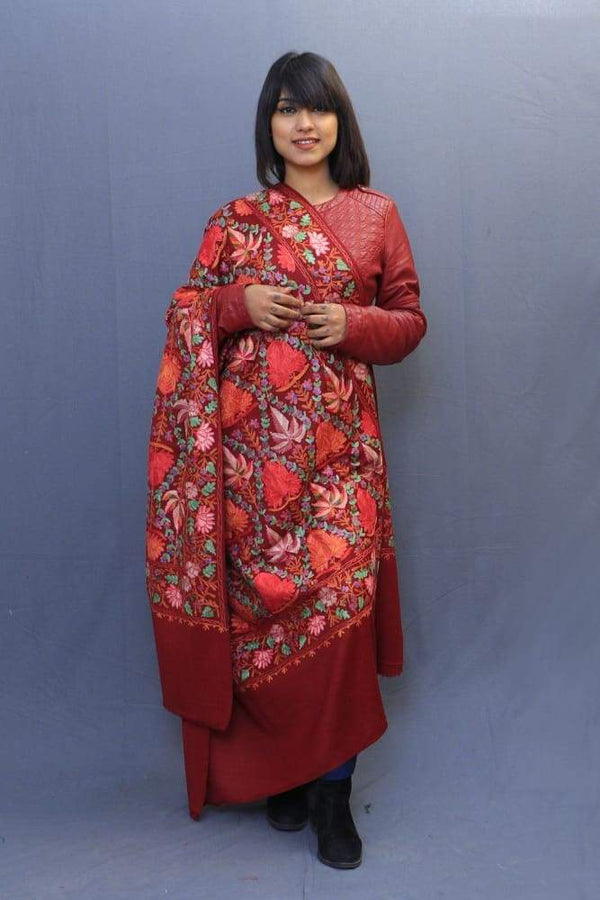 Maroon Colour Shawl With Kashmiri Aari Embroidery Looks