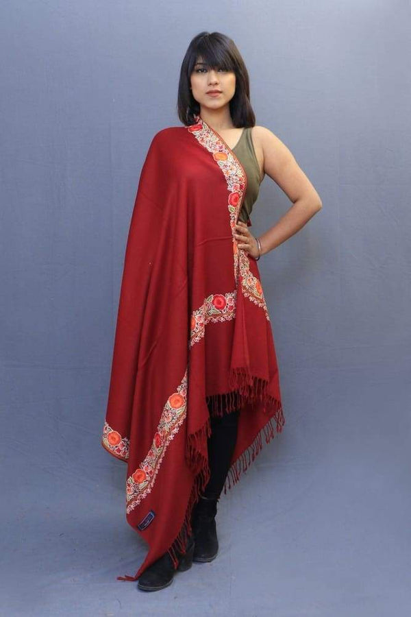 Maroon Colour Stole With Kashmiri Four Sided Border Add