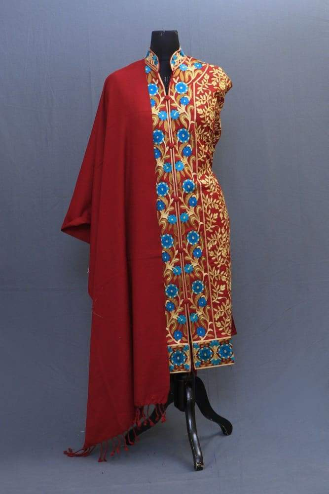 Maroon Colour Woolen Achkan Style Suit Having All Over