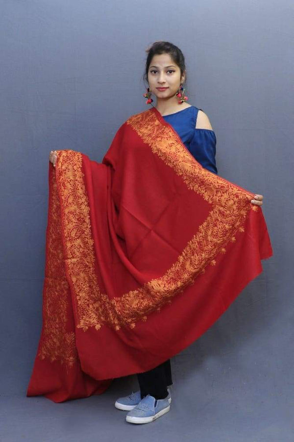 Maroon Colour Wrap With Golden Aari Embroidery Looks