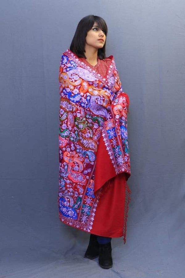 Maroonish Red Colour Wrap With Richly Designed Aari Jaal And