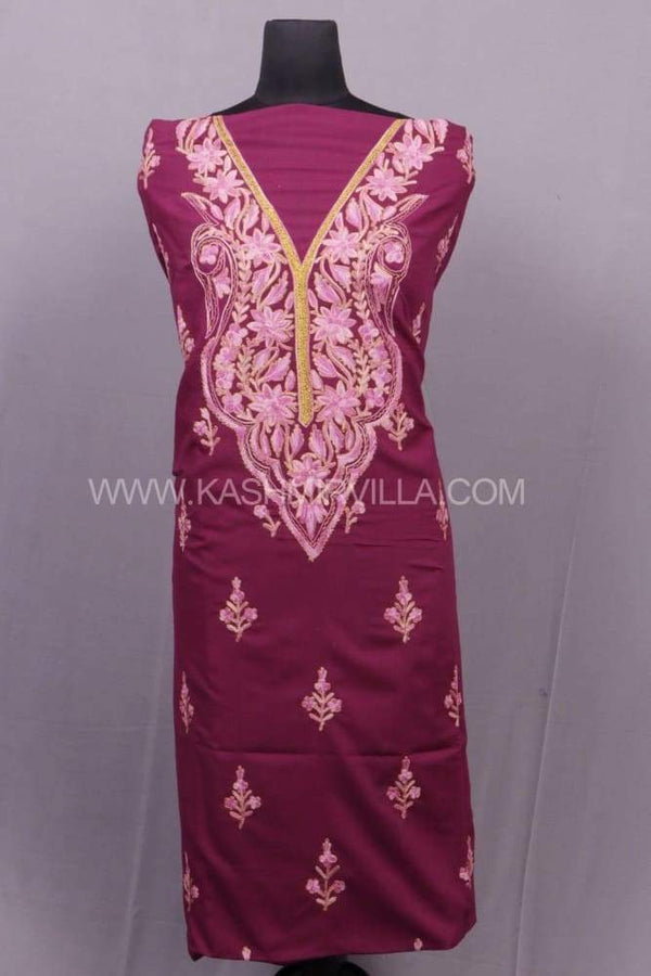Mauve Colour Cotton Suit With Combo Of Aari And Tilla