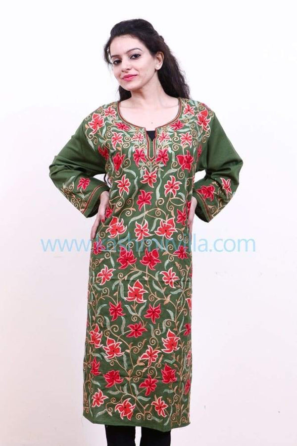 Mehandi Green Colour Cotton Kurti With Multicolour