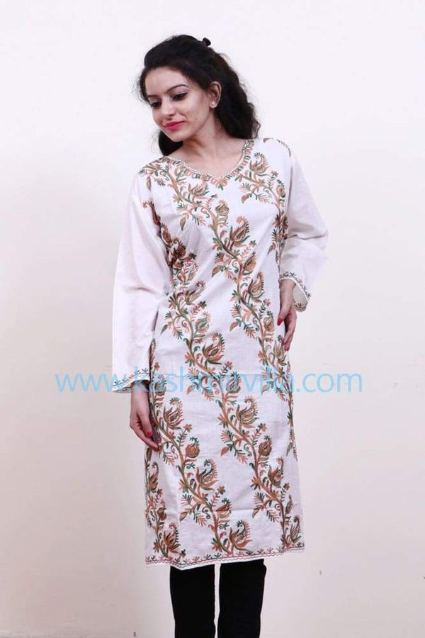 Milky White Colour Cotton Kurti Gives Trendy Look With Bail