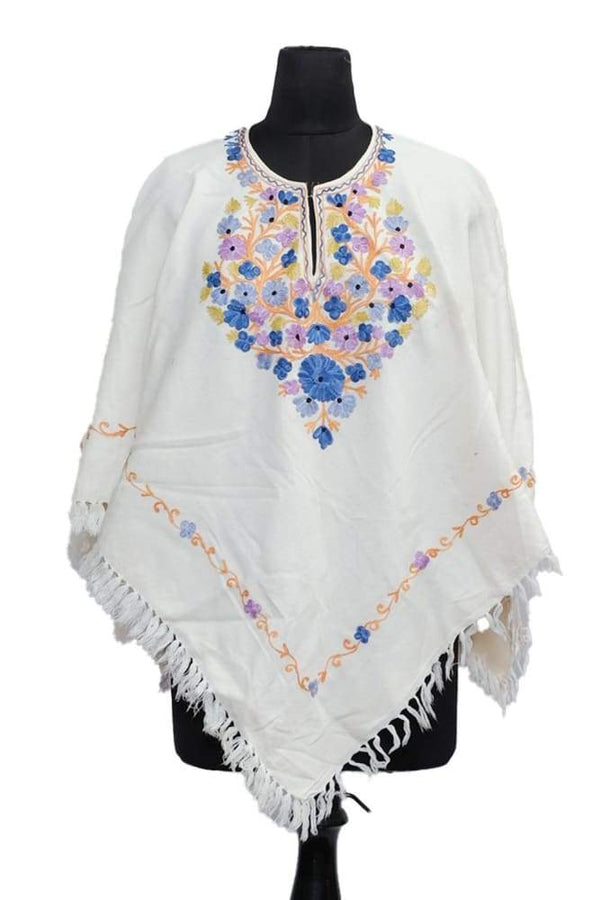 Milky White Colour Ponchu With Elegant Kashmiri Embroidery.