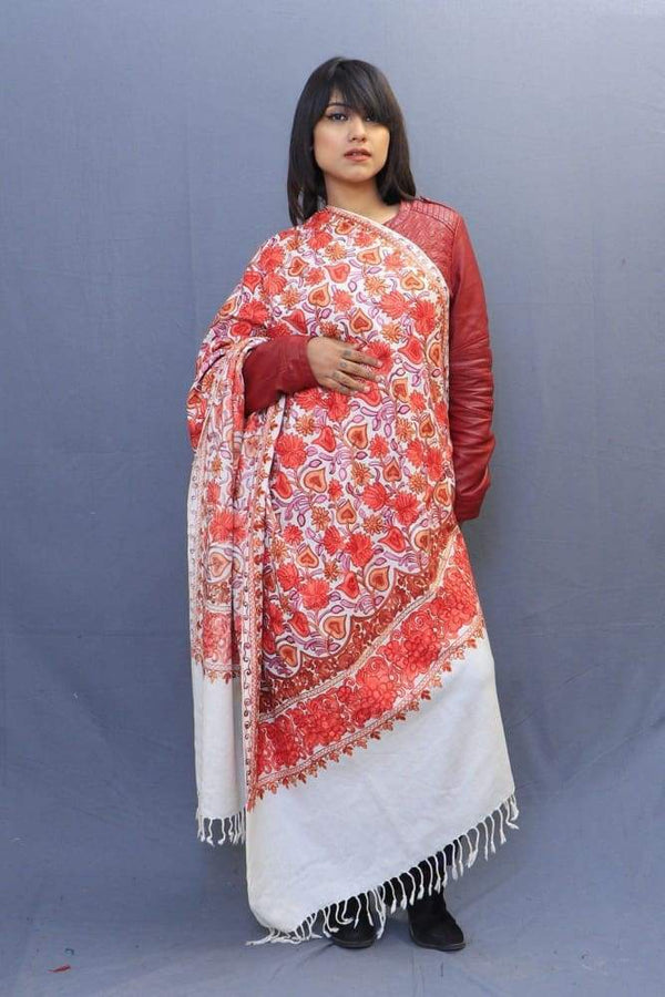 Milky White Colour Shawl With Wonderful Aari Jaal Gives A