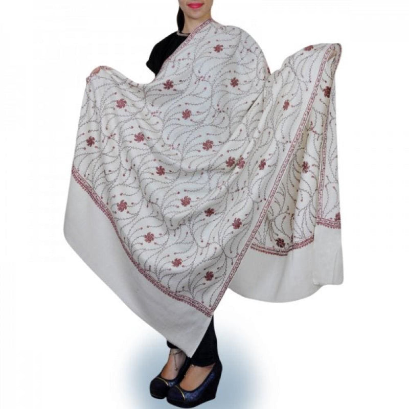 Milky White Kashmiri Needle Work Shawl Enriched With Ringlet