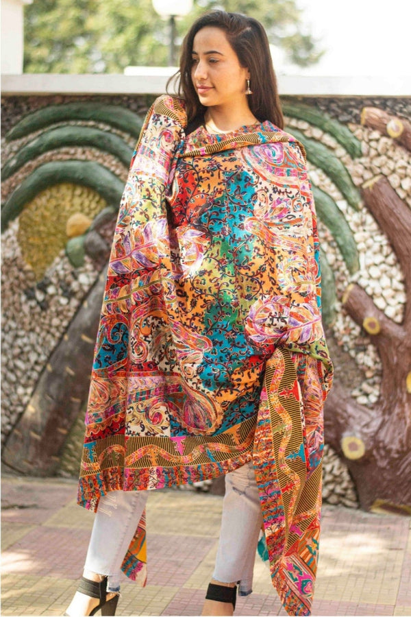 Multi Colour Stole With Kashmiri Embroidery Compliments The