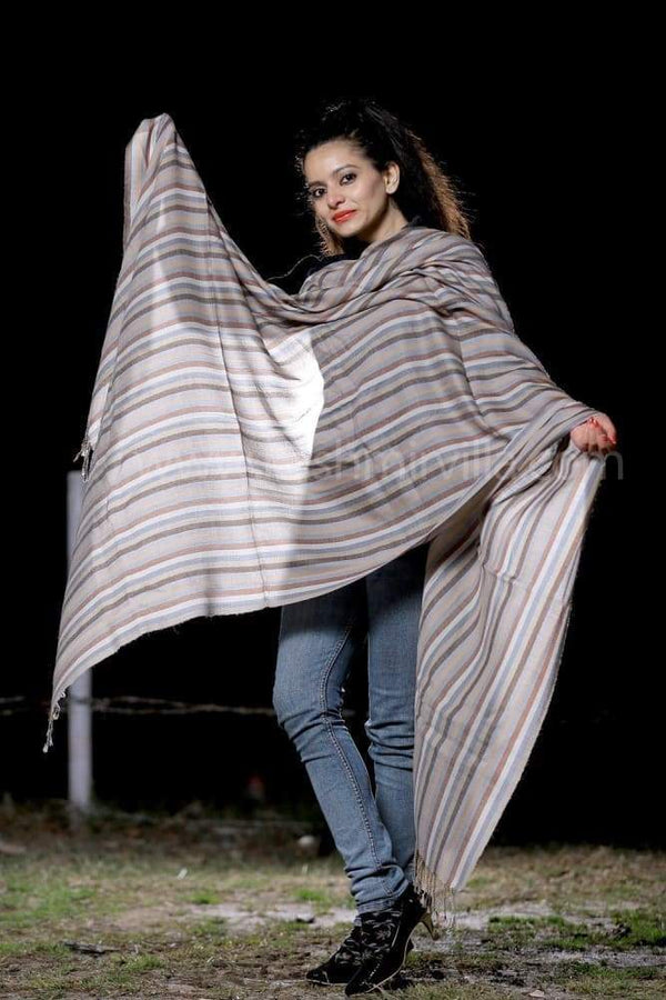 Multicolour Stripes On SemiPashmina Shawl Gives Warmth n