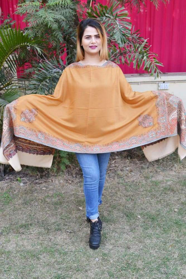 Mustard And Beige Color Kashmiri Kani Work Stole