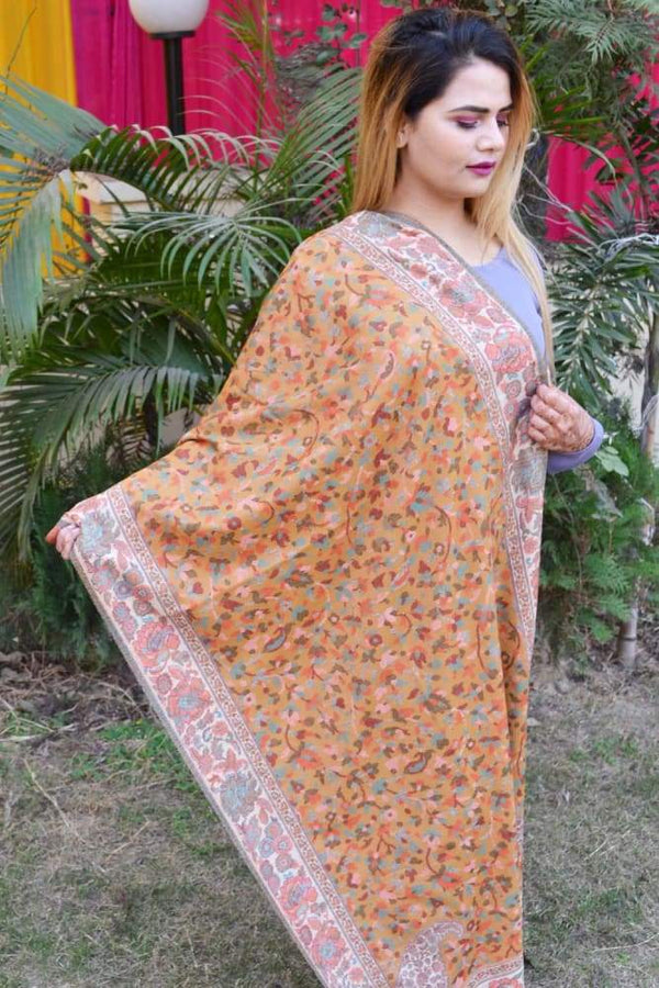 Mustard Color Kashmiri Kani Work Stole