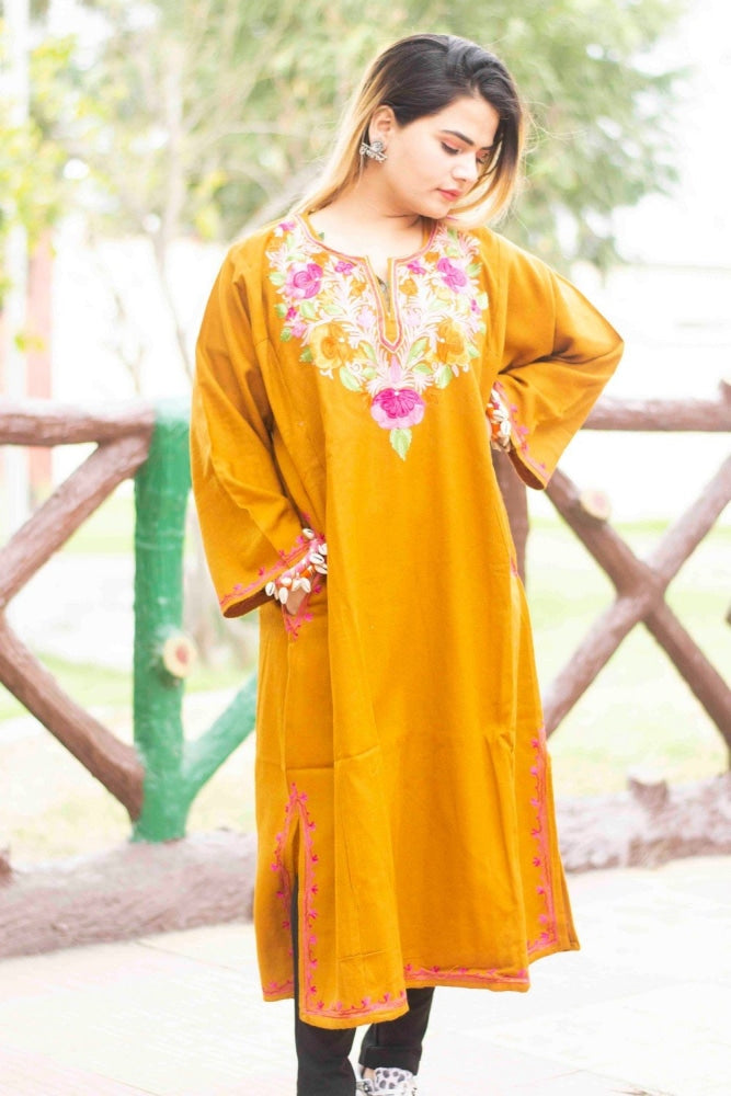 Mustard Color Kashmiri Work Embroidered Phiran Enriched