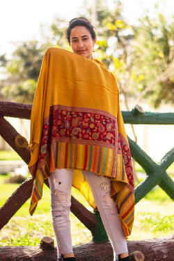 Mustard Colour Kani Shawl With Style Bold And Dense Border