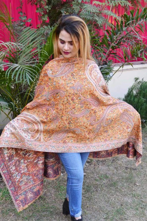 Mustard Yellow Color Kashmiri Kani Work Stole