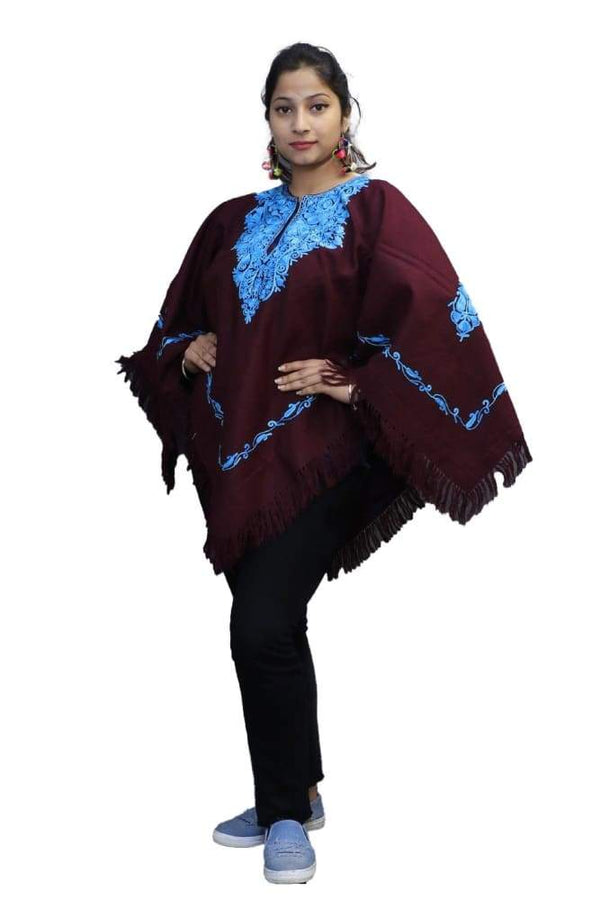 Mysterious Maroon Kashmiri Aari Work Embroidered Poncho