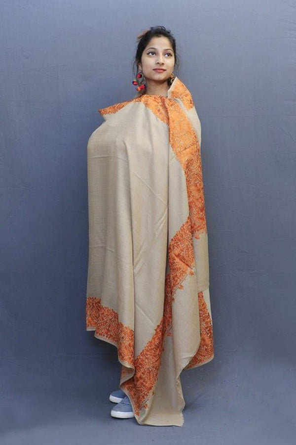 Natural Colour Wrap With Brown Aari Embroidery Looks