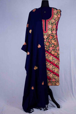 Navy Blue color Kashmiri Aari Work Embroidered Salwar Kameez