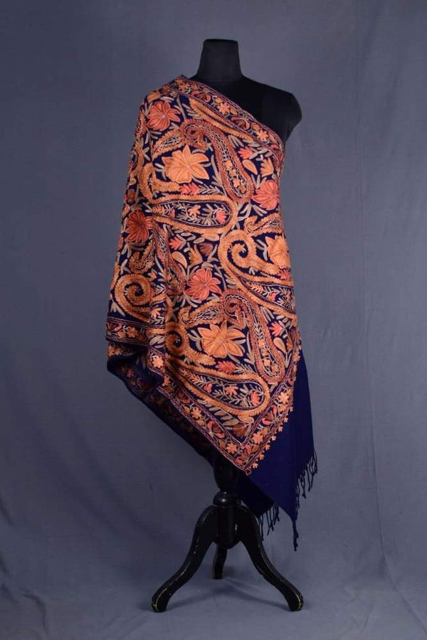 Navy Blue Color Kashmiri Work Embroidered Stole Enriched