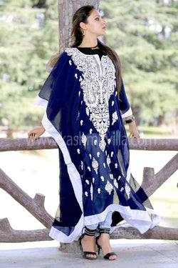 Navy Blue Colour Georgette Kashmiri Aari Work Designer