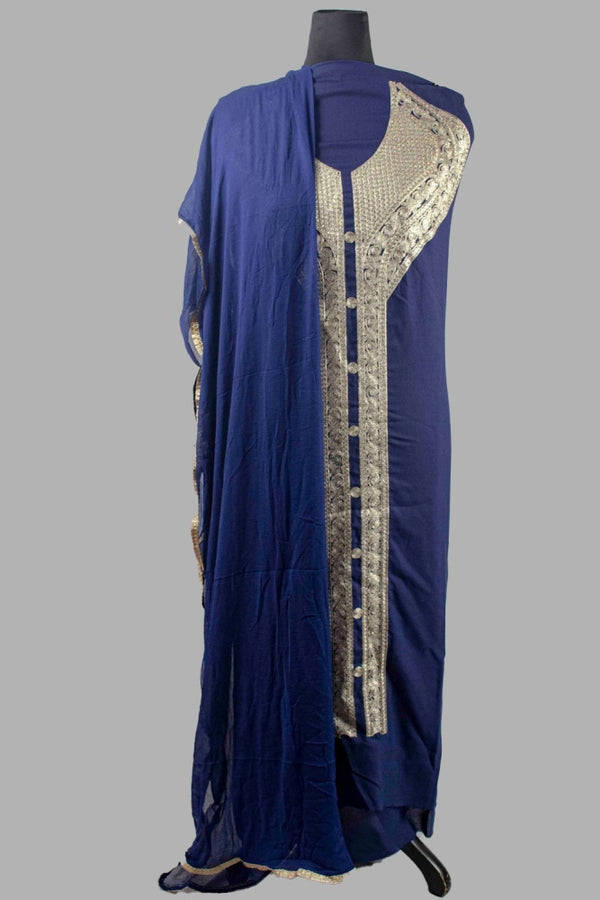 Navy Blue Colour Kashmiri Tilla Aari Work Salwar Kameez