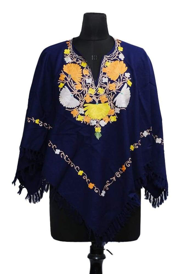 Navy Blue Colour Ponchu With Elegant Kashmiri Embroidery.