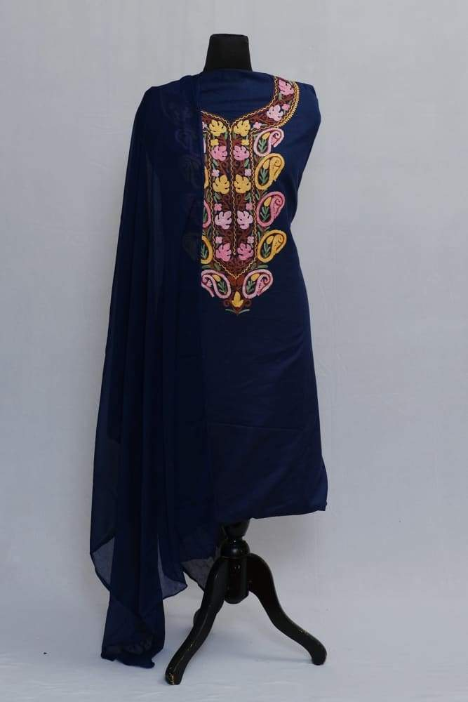 Navy Blue Colour Salwar Kameez Ambi Pattern With Matching