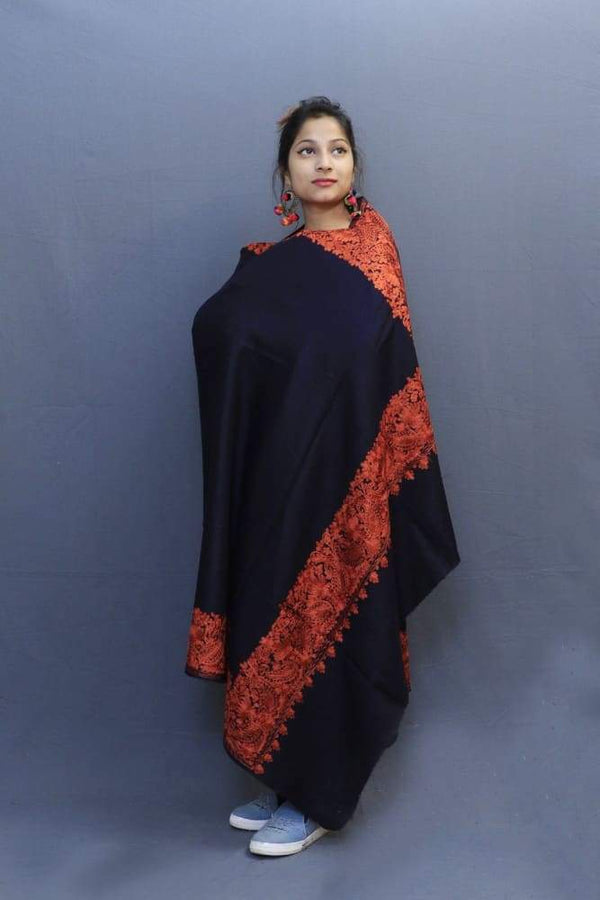 Navy Blue Colour Wrap With Rust Aari Embroidery Looks