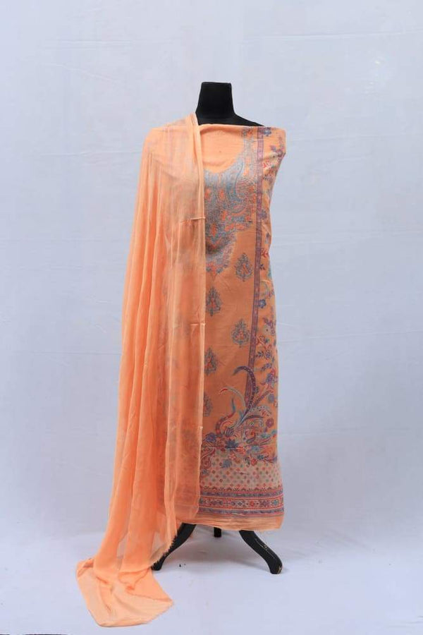 Neon Colour Cotton Kani Suit With Self Woven Embroidery