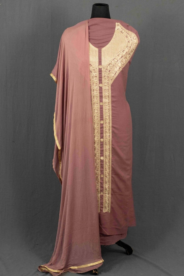 Onion Colour Kashmiri Tilla Aari Work Salwar Kameez