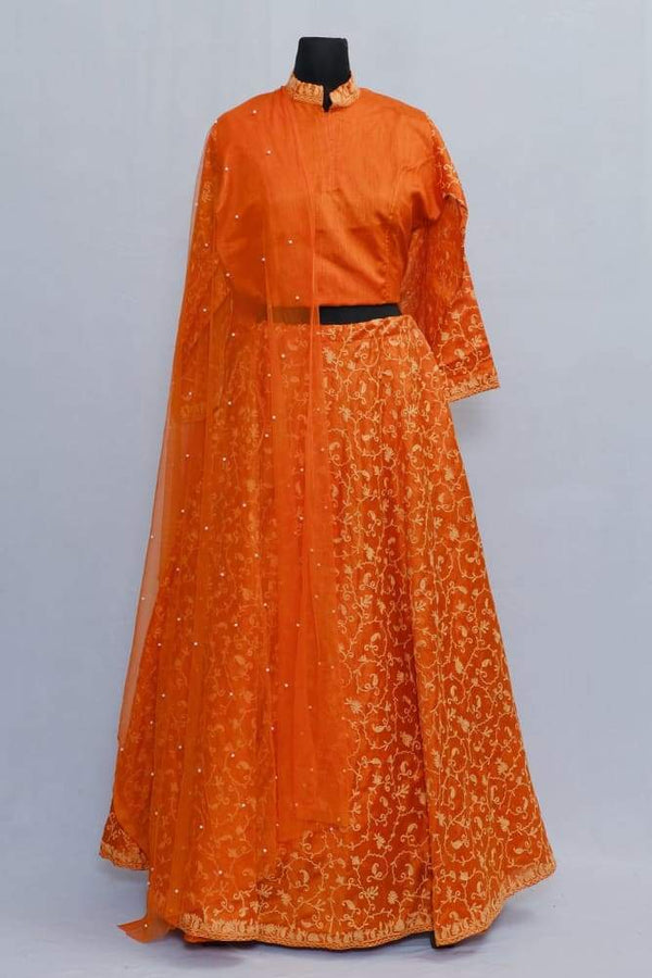 Orange Colour Kashmiri Embroidered Skirt With Crop Top And