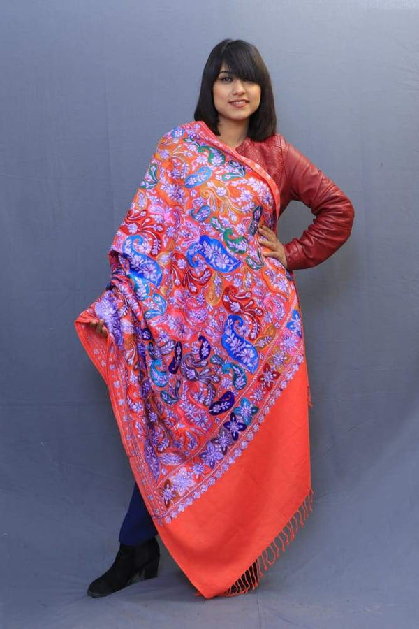 Orange Colour Wrap With Richly Designed Aari Jaal And Highly