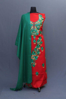 Orange And Green Colour Suit With Beautiful Concept Of Aari