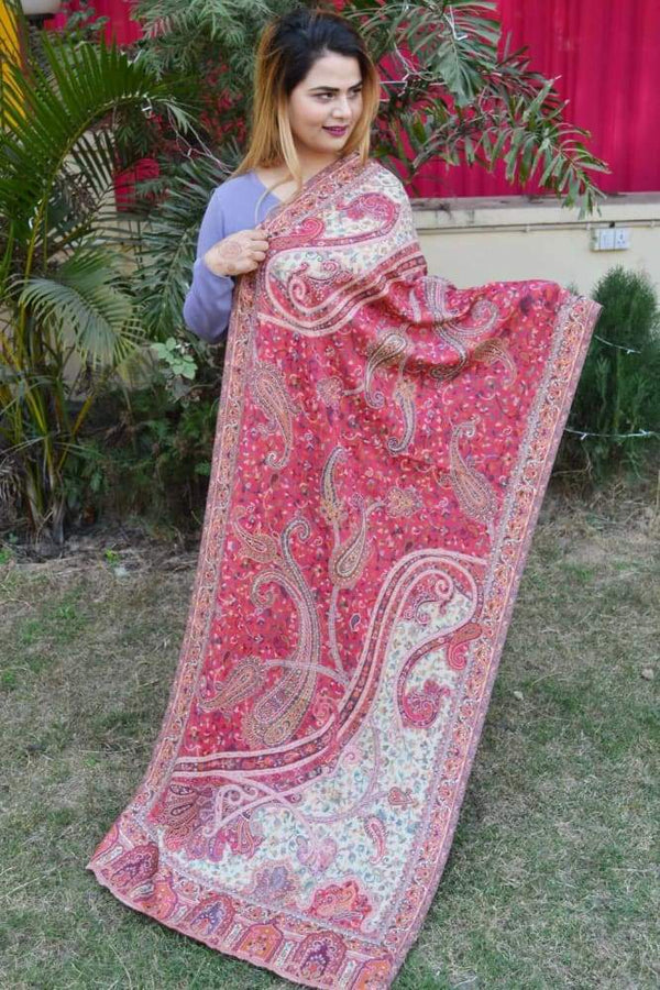 Pink Color Kashmiri Kani Work Stole