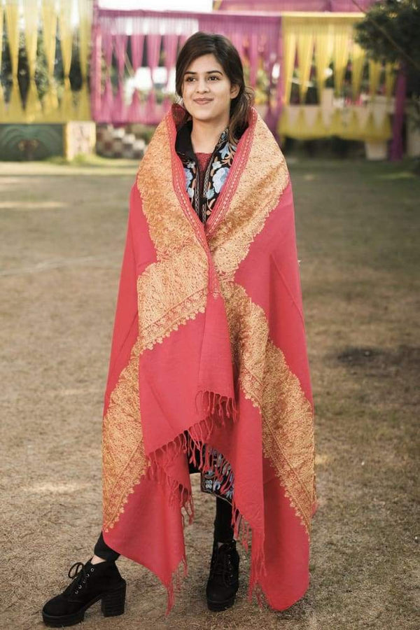 Pink Color Kashmiri Shawl With Tilla Work Gives A Trendy
