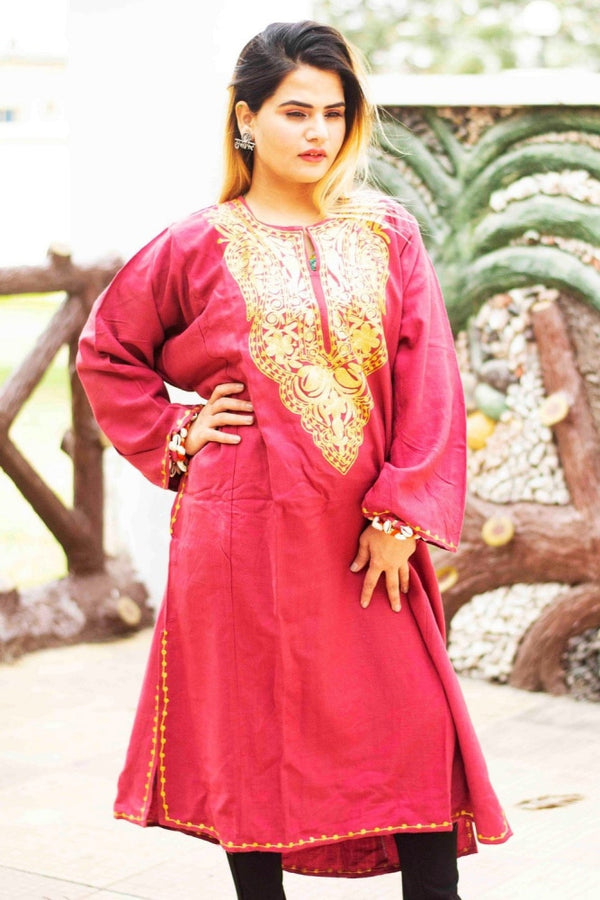 Pink Color Kashmiri Zari Work Embroidered Phiran Enriched