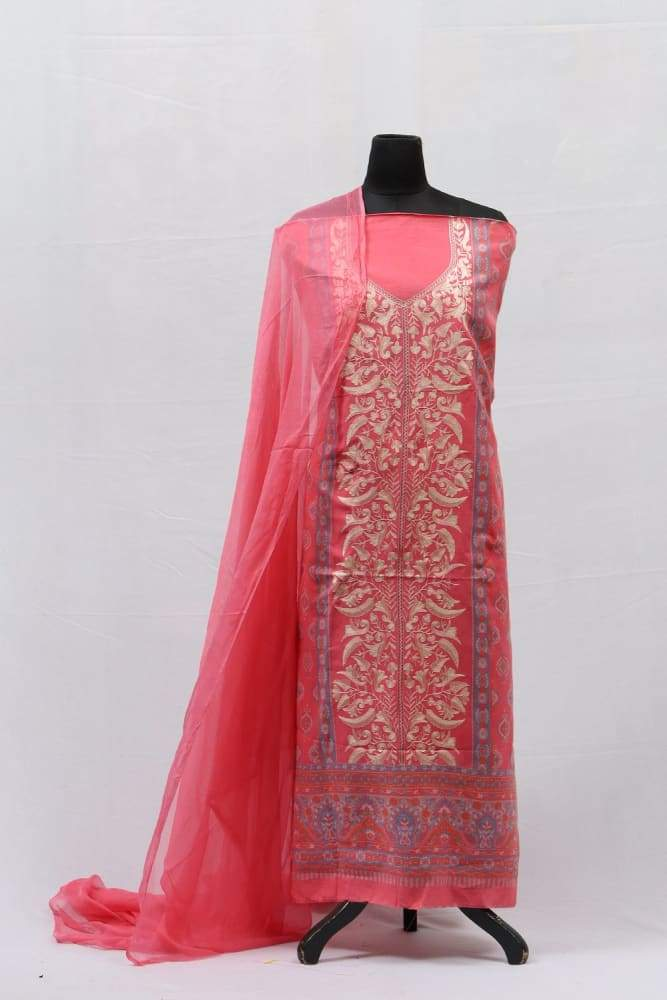 Pink Colour Cotton Kani Suit With Self Woven Embroidery