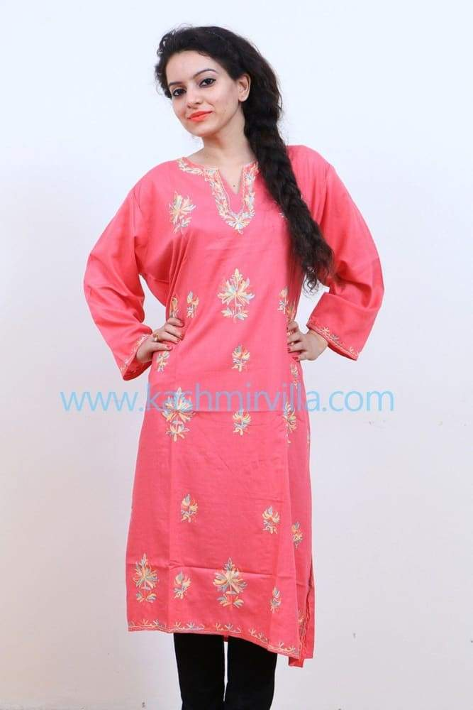 Pink Colour Cotton Kurti With Kashmiri Motifs Latest Fashion