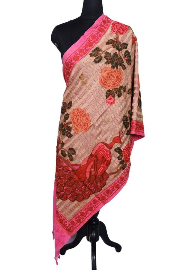 Pink Colour Stole With Kashmiri Peacock Embroidery