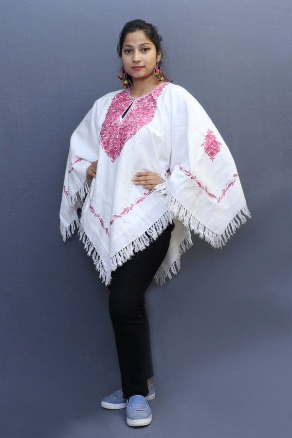 Pink Creamy White Color Aari Work Embroidered Poncho