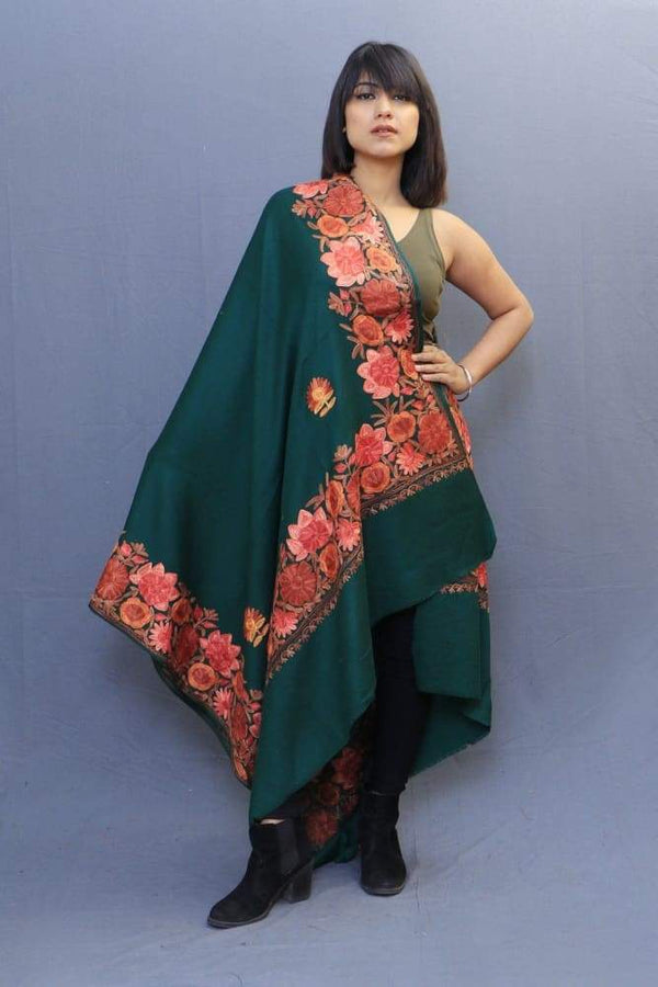 Poison Colour Stole With Kashmiri Four Sided Border Add