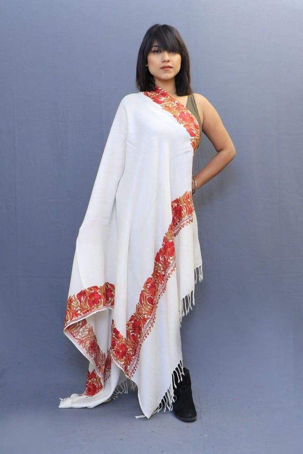 Pure White Color Stole With Kashmiri Four Sided Border Add