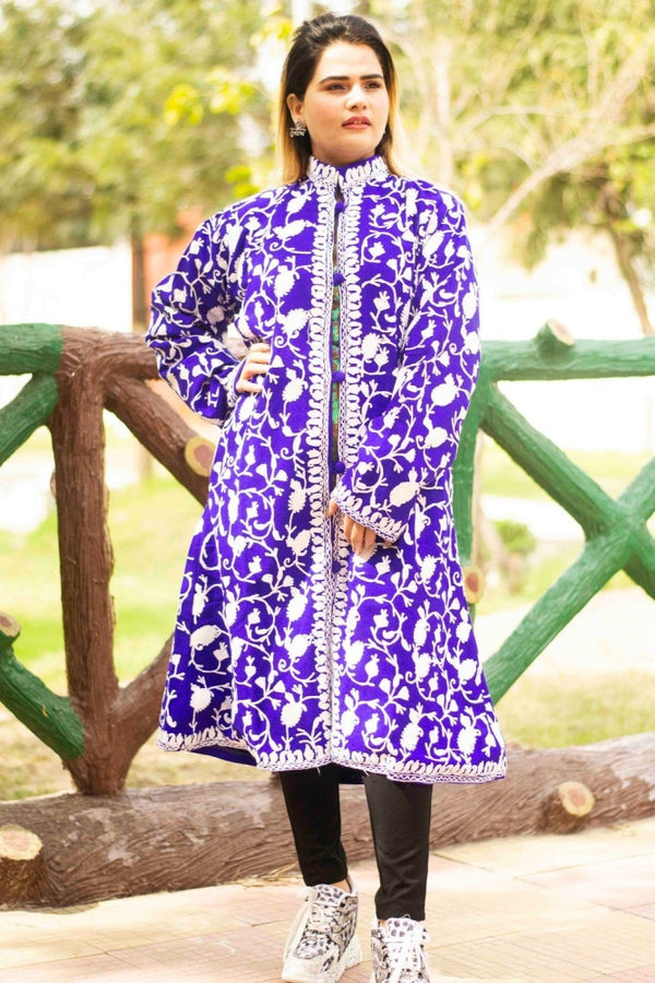 Purple Aari Work Embroidered Jacket With New Designer