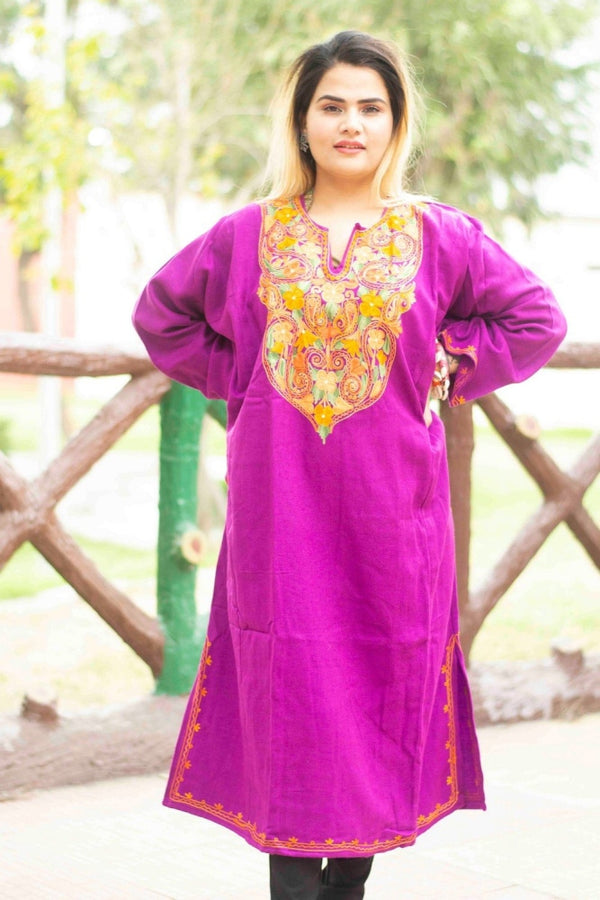 Purple Color Kashmiri Work Embroidered Phiran Enriched