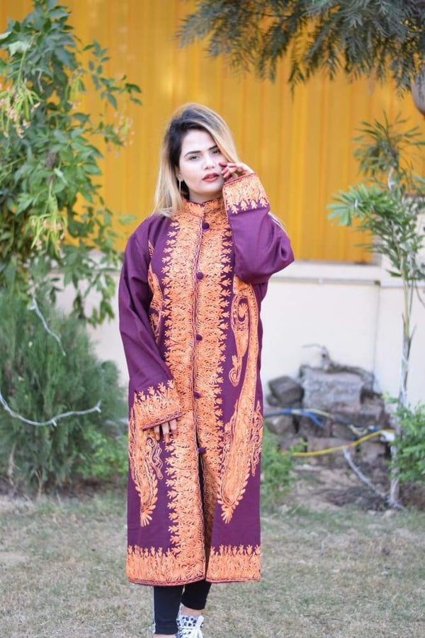 Purple Colour Aari Work Embroidered Jacket Designer Paisley