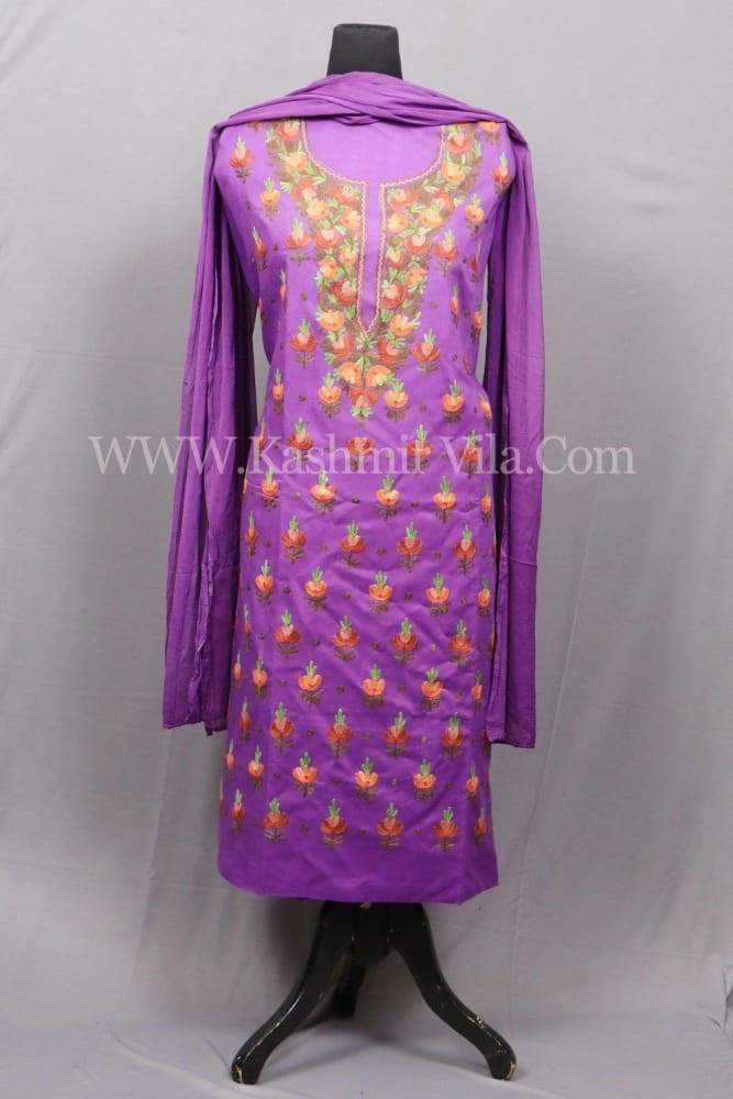 Purple Colour Cotton Suit With Beautifully Designed Neck And